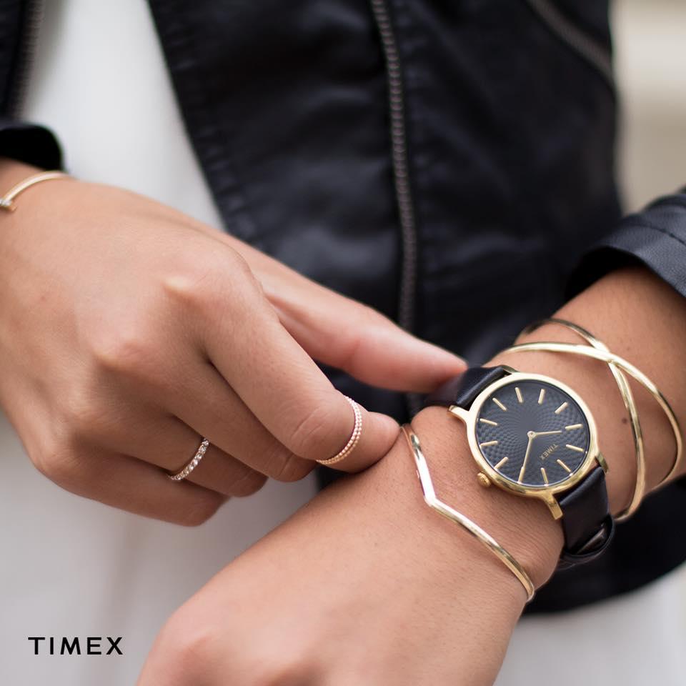 czarny zegarek damski timex